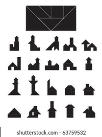 Vector Tangram Building Collection (house, short sale, real estate, foreclosure symbols and icons)