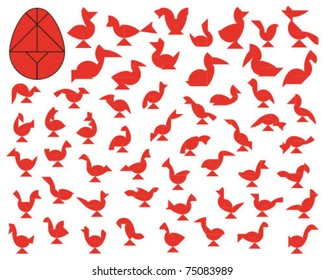 Vector Tangram Easter Egg (big collection of birds)