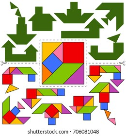 Vector Tangram foursquare of Pythagoras (geometric puzzle). Collection of 7 objects and answer card. Vector illustration