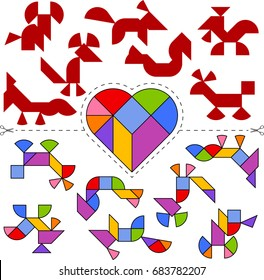 Vector Tangram Heart (geometric puzzle). Collection of 7 objects and answer card. Vector illustration