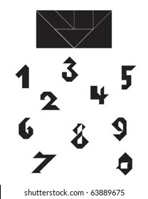 Vector Tangram Numeral Collection