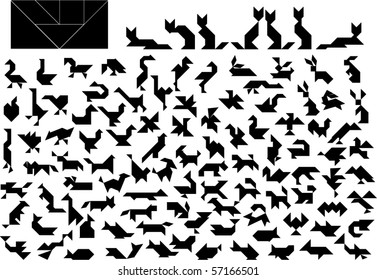 Vector Tangram Puzzle Animals Collection - elements for art and design from China (Chinese) (birds,cats, lions, dogs, apes, swan, fish, duck, bear, fox, eagle, parrot, whale, rooster, turkey etc)