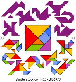Vector Tangram Puzzle Birds Collection (geometric puzzle). Collection of 7 objects and answer card. Vector illustration