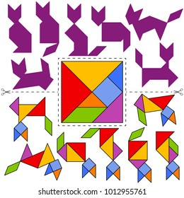 Vector Tangram Puzzle Cats Collection (geometric puzzle). Collection of 7 cat silhouettes and answer card. Vector illustration