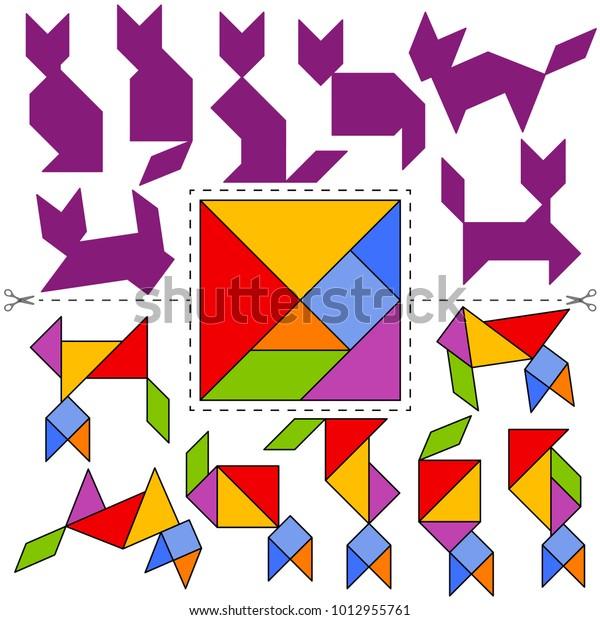 ベクタータングラムパズル猫コレクション幾何学的なパズル