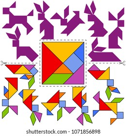 Vector Tangram Puzzle Hares Collection (geometric puzzle). Collection of 7 objects and answer card. Vector illustration