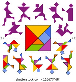 Vector Tangram Puzzle People Collection (geometric puzzle). Collection of 7 silhouettes of people and answer card. Vector illustration