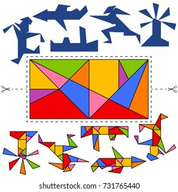 Vector Tangram rectangle of Archimedes (geometric puzzle). Collection of 5 objects and answer card. Vector illustration