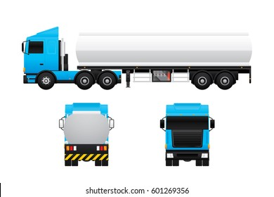 Vector of tank truck in different views isolated on white background.