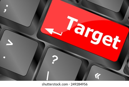 vector target button on computer keyboard. business concept