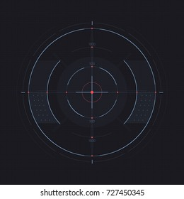 Vector Target Display. Futuristic HUD Screen. Sci-Fi Design Element Isolated on Background. Mark. Sniper Scope. Vector Illustration.