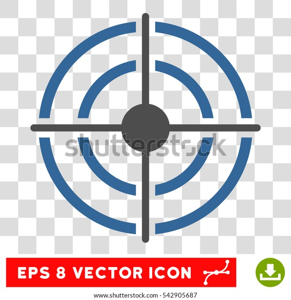 Vector Target EPS vector icon. Illustration style is flat iconic bicolor cobalt and gray symbol on a transparent background.