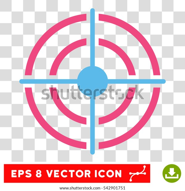 Vector Target EPS vector pictograph. Illustration style is flat iconic bicolor pink and blue symbol on a transparent background.
