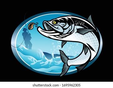 vector of tarpon fishing shirt design