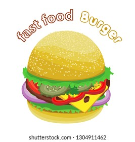 Vector tasty burger with fresh vegetables, cheese and grilled cutlet. Transparent background and inscription