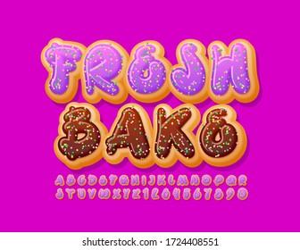 Vector tasty emblem Fresh Bake with Violet Glazed Font. Donut Alphabet Letters and Numbers with Sprinkles