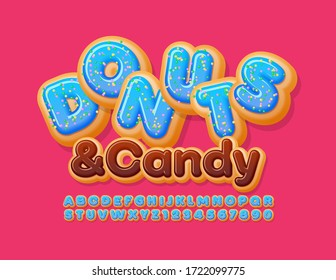 Vector tasty sign Donuts & Candy. Blue glazed Font with Sprinkles. Sweet Alphabet Letters and Numbers