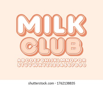 Vector tasty sign Milk Club with Trendy Font. Stylish Alphabet Letters and Numbers