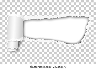 Vector tattered hole in transparent paper with soft shadow and paper curl. White background of the resulting window. Template design.