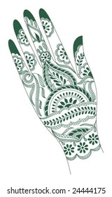 Vector tattoo artwork of India.  The artwork is done on a woman's hand.