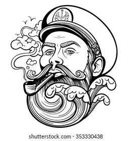 Vector Tattoo Black and White Captain Illustration