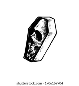 Vector Tattoo Black and White Coffin Skull