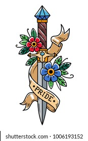 Vector tattoo dagger with flowers and ribbon. Ancient oriental dagger decorated with large sapphire. Ribbon with lettering PRIDE wraps around dagger. Old school style. Traditional Tattoo Design