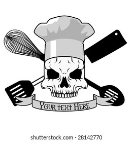 Vector tattoo design with skull and kitchen implements (text easily removed)