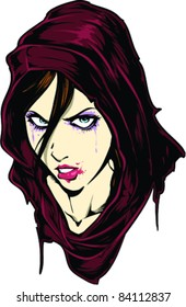 Vector Tattoo Frowning Girl