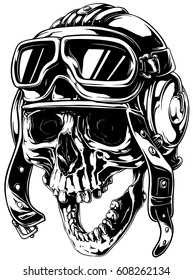 A vector tattoo illustration of crazy smiling old human skull in retro aviator helmet with open jaw.