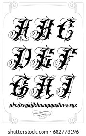 Vector tattoo lettering