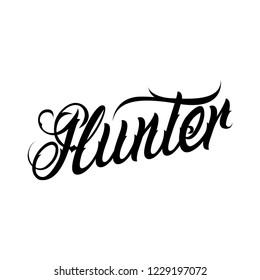 Vector tattoo lettering Hunter. Sketch name Hunter. Calligraphy tattoo logo Hunter