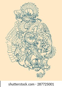 Vector tattoo pattern with tiger, dragon, skulls and floral elements