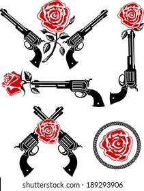 Vector Tattoo Rose With Gun