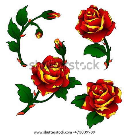 Vector Tattoo Roses Clipart Old School Vector De Stock Libre De