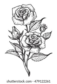 vector tattoo roses with leaves on white background