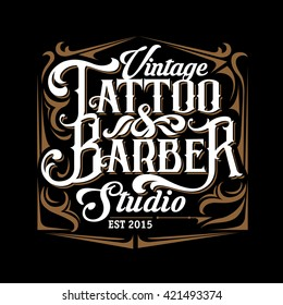 Vector tattoo studio and barber shop logo templates on black background. Cool retro styled vector emblem. Retro lettering.Tattoo studio sign.