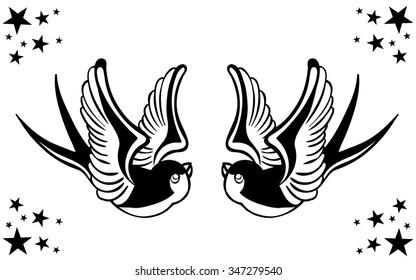 Vector Tattoo Swallow Pair Illustration