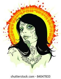 Vector Tattoo Zombie Girl