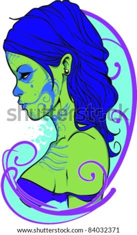 Vector Tattoo Zombie Girl Vector De Stock Libre De Regalias