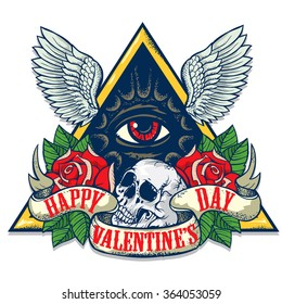 Vector tattoo-art on the theme of Valentine's Day. Tattoo-art design.Wings, roses and skull. Eye of Providence. Hand-drawn vector images. Good for printing on t-shirt. Easy to edit..Tattoo font.