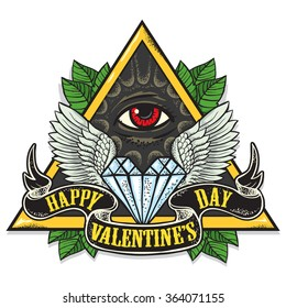Vector tattoo-art on the theme of Valentine's Day. Tattoo-art design.Wings,diamond and Eye of Providence. Hand-drawn vector images. Good for printing on t-shirt. Easy to edit..Tattoo font.