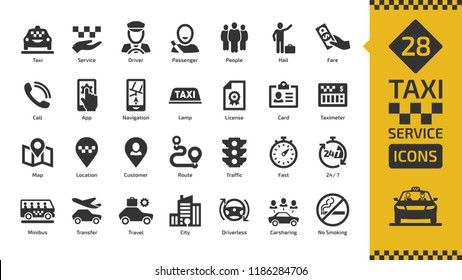 Vector taxi cab car service icon set with motor transport, driver, passenger on travel, people and city traffic flat silhouette sign.