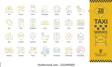 Vector taxi cab car service editable stroke color line icon set with motor vehicle, driver, passenger, people, fare, app, navigation, lamp, license, card and taximeter thin outline colorful symbol.