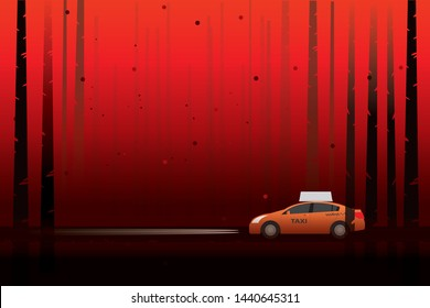 vector taxi car driving on the local road on dark red forest  . holloween background