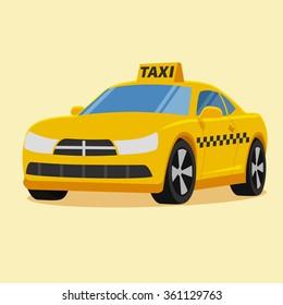 Vector taxi car illustration. Flat style
