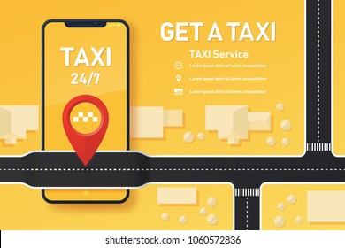 Vector taxi mobile app design