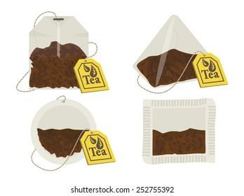 Vector tea bags with tags. 10 eps