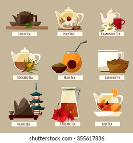 Vector Tea Icons Set. Diverse tea vector collection. Tea illustrations flat style set EPS.Different kind of tea labels