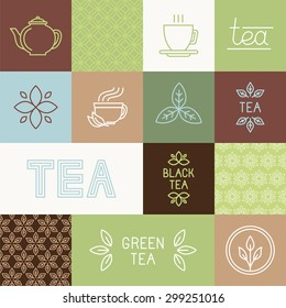 Vector tea package design elements in trendy mono line style - linear logos, hand-lettering, seamless patterns and icons